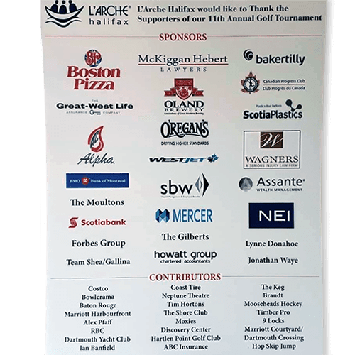 sponsor board at golf tournament